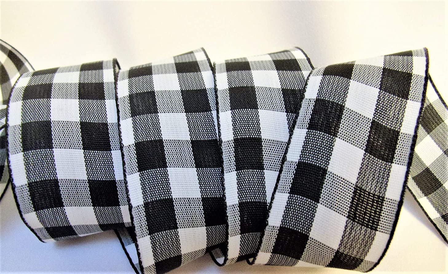Black and White Check Print Ribbon - 7/8