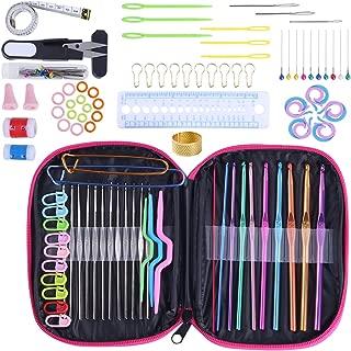 KOKNIT Crochet Hook Set 100pcs with Yarn Knitting Needles Sewing Tools Full Set Knit Gauge Scissors Stitch Holders DIY Craft Tools