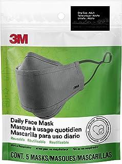 Máscara facial diaria 3M, reutilizable, lavable, ajustable, tela de algodón ligero, paquete de 5