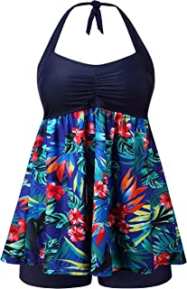 Sandsuced Womens Plus Size Swimsuit Swimwear Tankini Two Piece Design Bathing Suit Swimwear