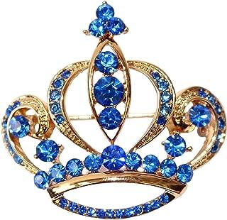 Navachi 18k Gold Plated Blue Crystal Royal Crown Brooch pin