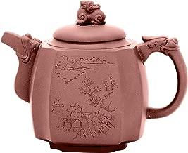 ufengke 17oz Yixing Quartet Dragon Statue Zisha Teapot,Large Capacity Handmade Ceramic Teapot for Kungfu Tea,500ml