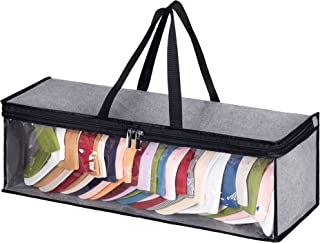 KEETDY Large Hat Organizer for Baseball Cap Holder with 2 Carry Handles for Snapbacks, Gray