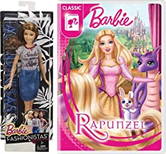 Smile with Style Fabulous Rapunzel Barbie Animated Classic DVD & Fashionistas Doll Double Girl Pack