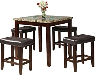 acme Rolle Counter Height Set (5 Pack), Faux Marble and Espresso