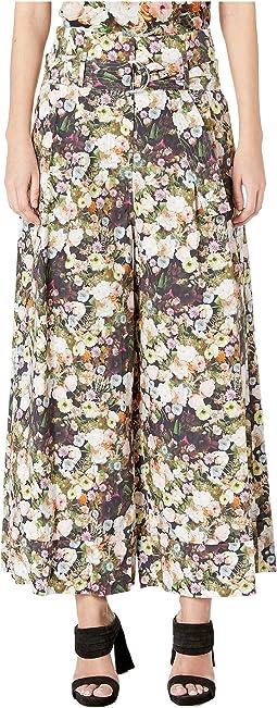 Printed Poplin Tie-Waist Wide-Leg Culotte