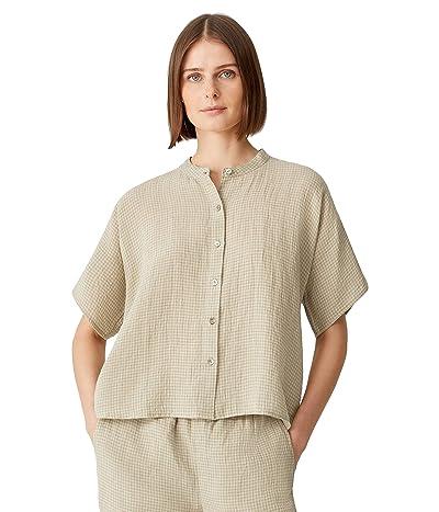 Eileen Fisher Mandarin Collar Short Sleeve Shirt in Puckered Organic Linen