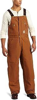 Carhartt Men's Quilt Lined Zip To Waist Bib Overalls R38 - Brown - 50W x 32L