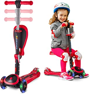 SKIDEE Kick Scooters for Kids 2-12 Years Old - Foldable Scooter with Removable Seat, 3 LED Light Wheels, Back Wheel Brake,...