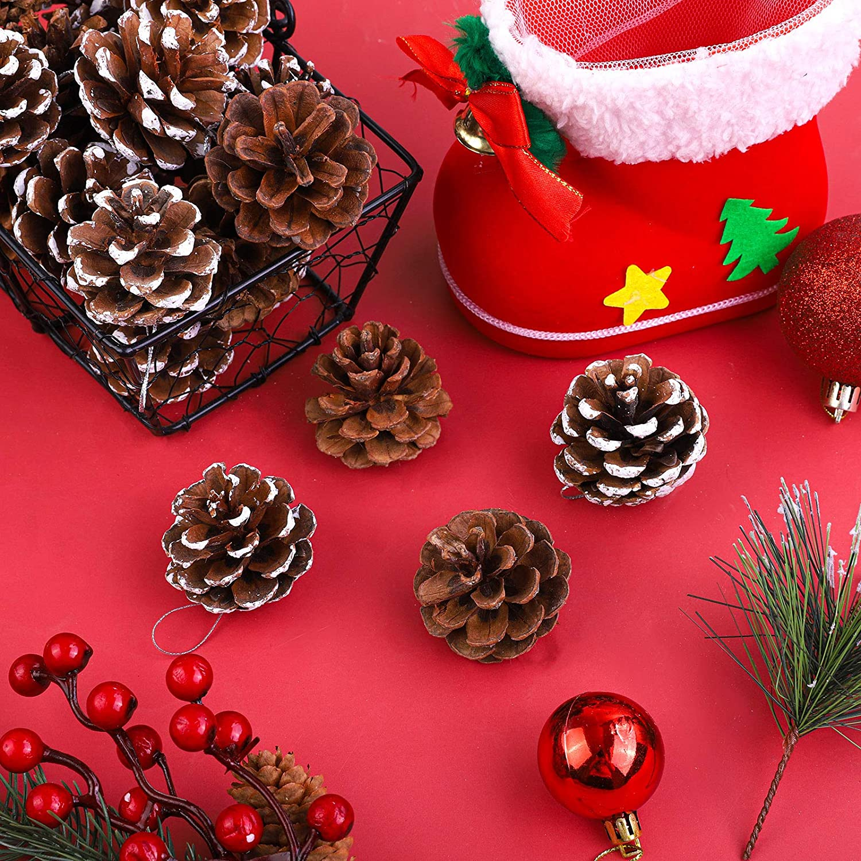 3 a 4 cm Cooraby Juego de 24 conos de pino de nieve de Navidad