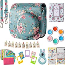 Flylther Compatible Mini 8 8+ 9 Camera 8-in-1 Accessories Bundles Set for Fujifilm Instax Mini 8 8+ 9 Instant Film Camera (Case, Albums, Frames, Film Stickers,Colored Filters,Selfie Lens) - Flower