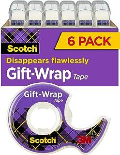 شريط لف للهدايا من سكوتش 6 لفافات، الشريط الذي يمكن الذهاب إليه للعطلات، 1.9 سم × 1650 سم، موزّع (615-GW)