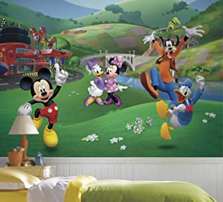 RoomMates Mickey And Friends Roadster Racer Removable Wall Mural - 10.5 feet X 6 feet
