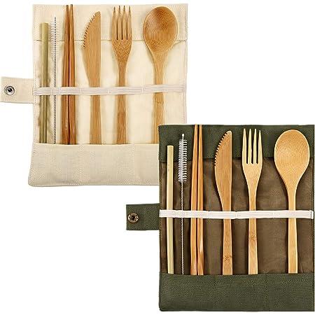 2 Juegos de Cubertería de Bambú Juego de Cubiertos Utensilios de Viaje de Bambú Incluye Cuchillo Cuchara Tenedor Palillos Pajitas Reutilizables ...