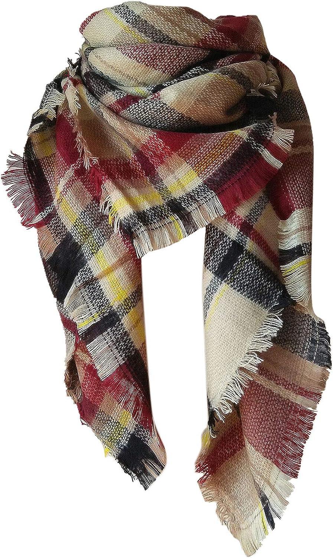 Plaid Blanket Scarf Winter Fall Scarfs for Women, Warm Soft Chunky Oversized Tartan Shawls Wraps Scarves