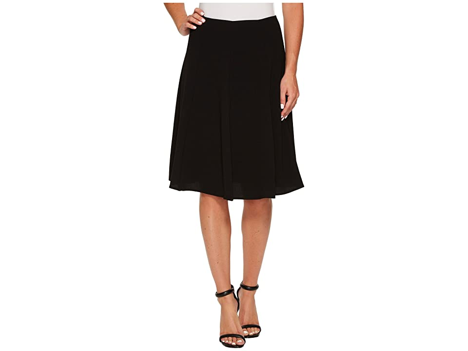 CeCe Moss Crepe Knee Length Flounce Skirt (Rich Black) Women