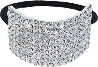 Rhinestone Ponytail Holder by Crystal Avenue | Stretchy Elastic Hair Tie | Silvertone with Sparkling Crystals