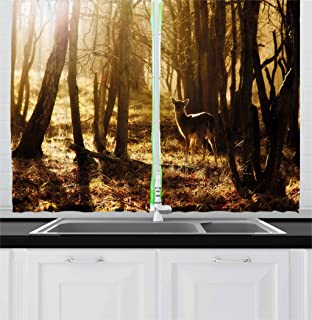 Ambesonne Cabin Decor Kitchen Curtains, Young Deer at Sunset in the Forest National Park Outdoors Netherlands Photo, Window Drapes 2 Panel Set for Kitchen Cafe, 55 W X 39 L Inches, Yellow Brown