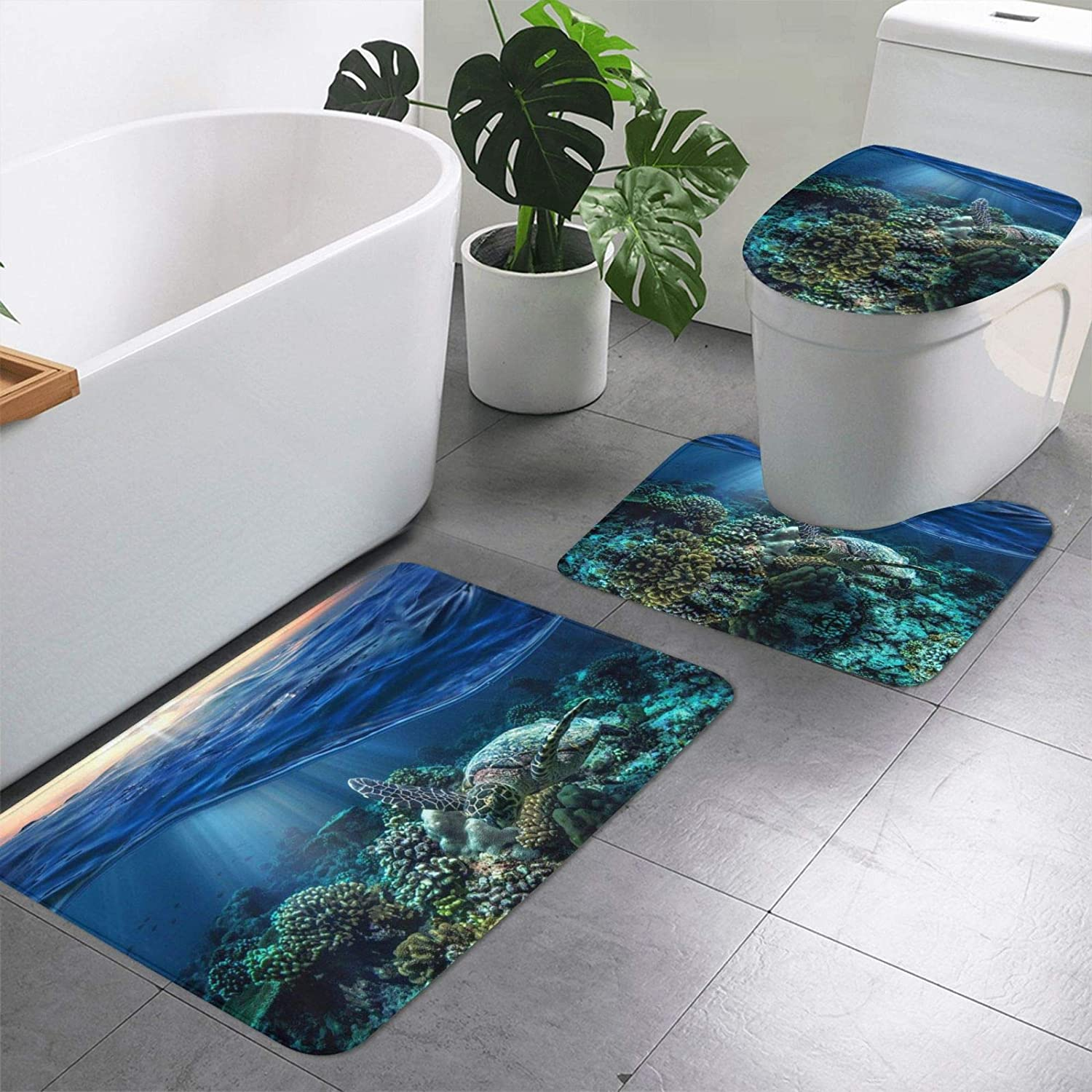 Sea Turtle Floating Up online shop and Over Factory outlet Print Bathroom Coral 3 Pieces Ru