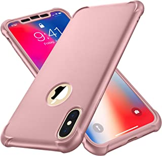 iPhone X Case, iPhone Xs Case, with[2 x Tempered Glass Screen Protector] ORETech 360° Full Body Shockproof Protection Cover Ultra-Thin Hard PC + Soft Rubber Silicone Case for iPhone X/XS- Rosegold