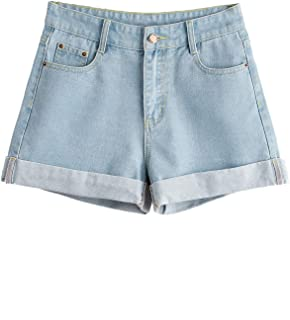 SweatyRocks Women's Retro High Waisted Rolled Denim Jean Shorts with Pockets