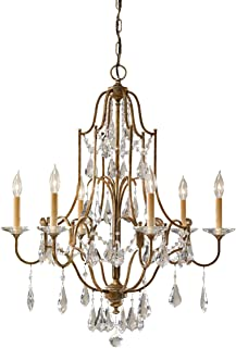 Feiss F2478/6OBZ Valentina Crystal Candle Chandelier Lighting, Bronze, 6-Light (29