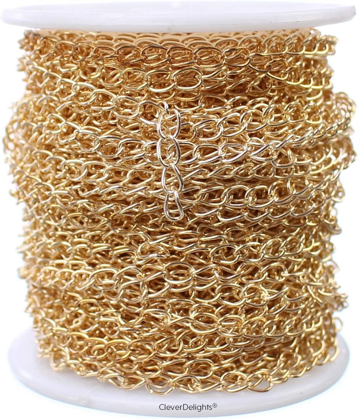 CleverDelights Curb Chain Spool - 3.5x5.5mm Link Over item handling Ranking TOP17 Champagne Gol