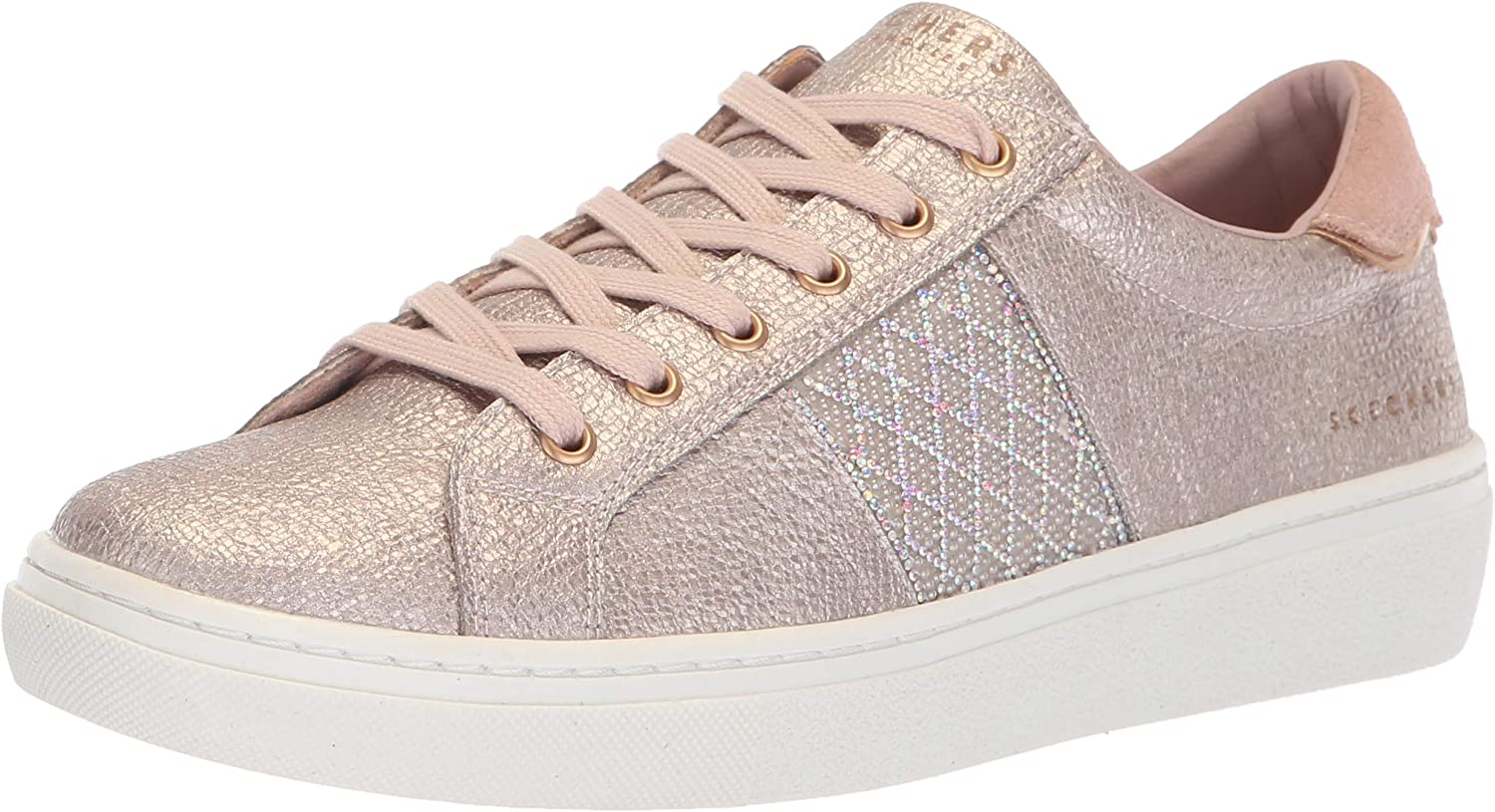 Skechers Womens goldie - Glitzy Mitzy. Quilted Rhinestone Qtr Trim Metallic Lace Up. Sneaker