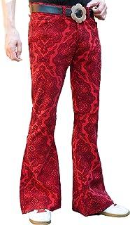 Fuzzdandy - Pantaloni svasati da uomo, motivo cachemire, colore: rosso