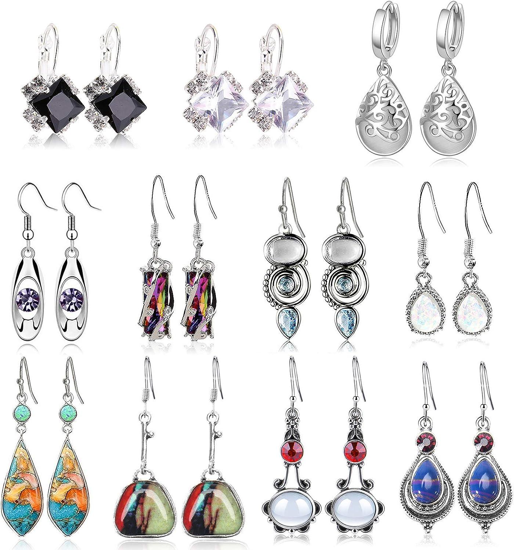 11 Pairs Teardrop Dangle Earrings,Crystal Drop Dangle Earrings For Women Girls Cubic Zirconia Boho Jewelry Waterdrop Earrings Set Birthday Gifts