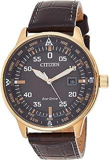 ساعة بمينا اسود وسوار جلدي للرجال من سيتيزن - BM7393-16H