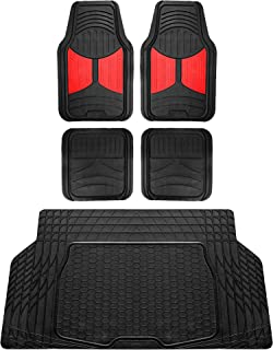 FH Group F11313 Monster Eye Full Set Rubber Floor Mats, Red/Black Color w. F16403 Trimmable Vinyl Trunk Liner/Cargo Mat Black- Fit Most Car, Truck, SUV, or Van