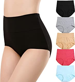 cauniss Womens Cotton Panties High Waist C Section Recovery Postpartum Soft Stretchy Full Coverage Underwear(5 Pack)