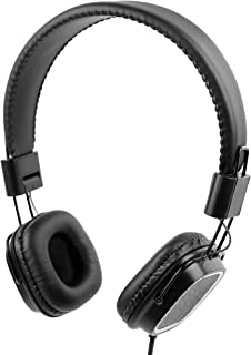 DURAGADGET Premium Padded Black Headphones with Microphone - Compatible with The Apple iPod Touch 3rd Generation