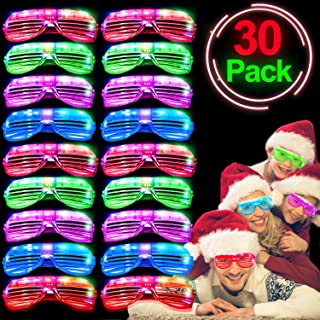 30 Pack LED Glasses 2020 Light up Glasses for New Year Eve Party Supplies Glow in The Dark Party Favors Shutter Shades Glasses Shades LED Sunglasses Christmas Gift Flashing Show Toys for Kids Adults