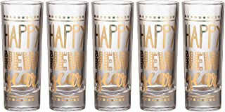 Party Shot Glasses - 5-Pack Happy New Year Shot Glasses Gift Set, Gold Foil Print, Holiday Year-End Party Supplies, 2-Ounce Capacity