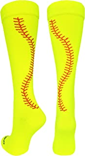 MadSportsStuff Softball Socks with Stitches Over The Calf (Multiple Colors)