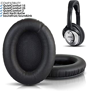 Wicked Cushions Premium Bose Headphones Replacement Ear Pads - Compatible with QuietComfort 15 / QC15 / QC2 / Ae2 / Ae2i / Ae2w / SoundTrue & SoundLink (Over-Ear ONLY) | Black