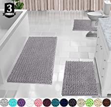 Yimobra 3 Piece Bath Mat Set, Extra Large Shaggy Chenille Bathroom Mats + Bathroom Rugs + Contour Toilet Mat, Soft and Comfortable, Water Absorbent and Thick, Non-Slip, Machine Washable, Light Gray