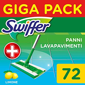 Swiffer Wet Panni Umidi Lavapavimenti per Scopa, Maxi Formato 72 Pezzi, 3 Confezioni da 24 Panni