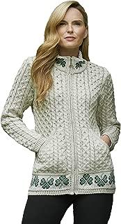 Aran Crafts Shamrock Zip Cardigan (100% Merino Wool)
