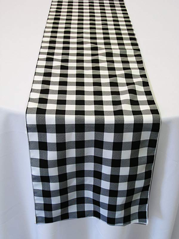 ArtOFabric Black And White Checkered Polyester Table Runner 13 X 90 Inch