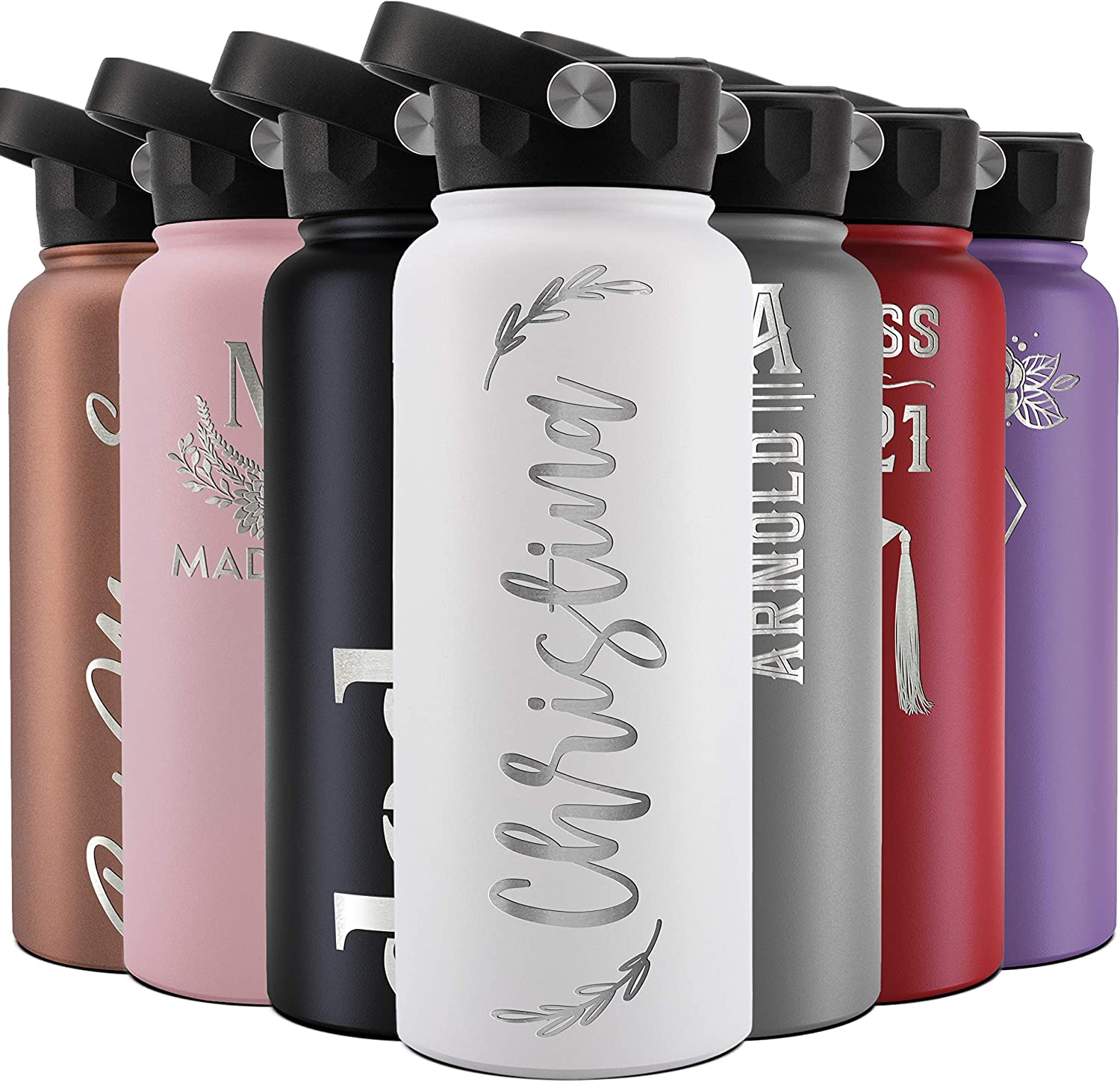 Personalized Water Bottle 大特価 w Lid 品質検査済 Straw Double-Wall Insulated