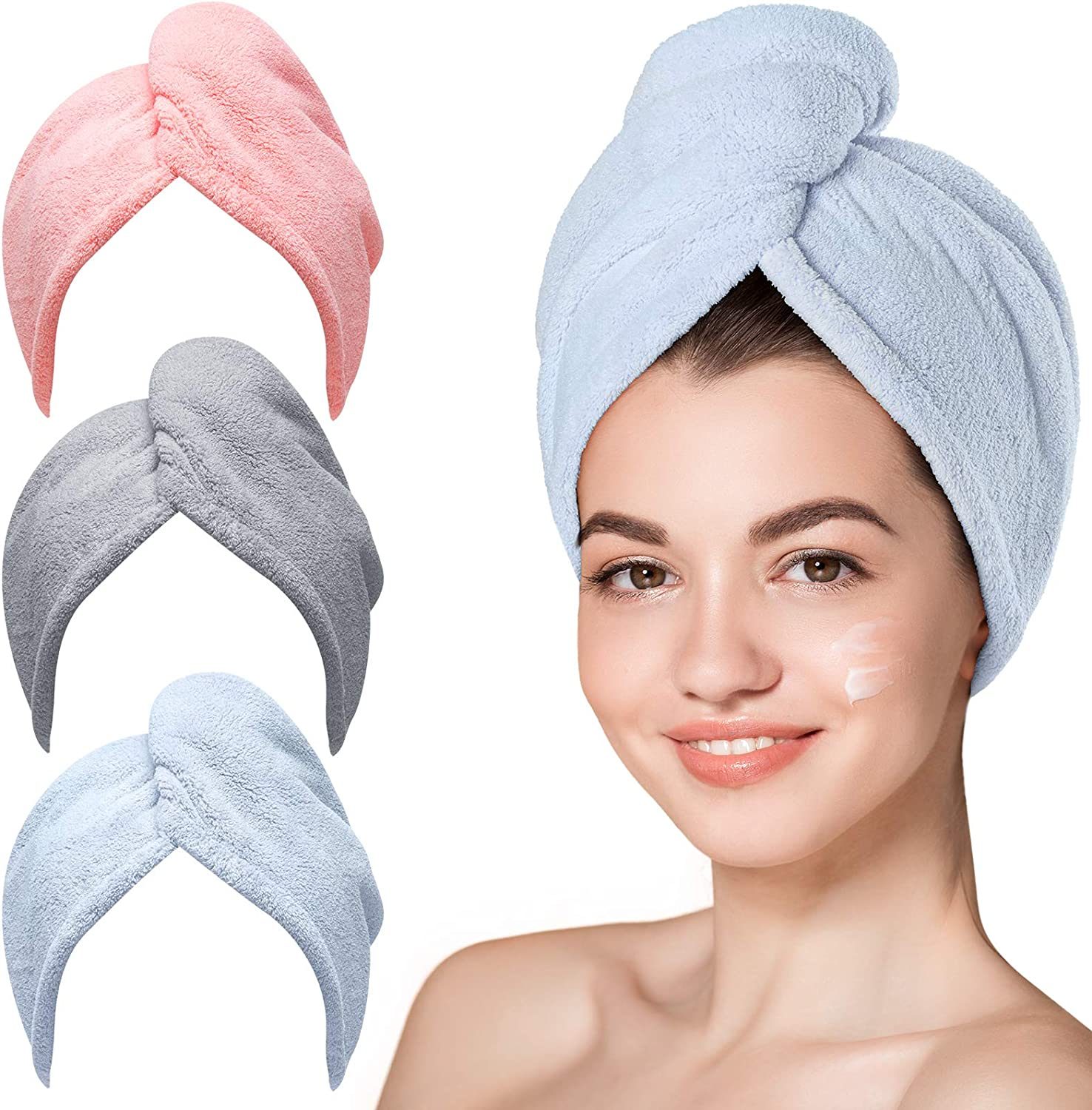67% OFF of fixed price Microfiber Hair Towel Hicober 3 Turbans Packs Wet Houston Mall for