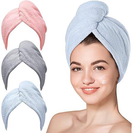 Microfiber Hair Towel,Hicober 3 Packs Hair Turbans for Wet Hair, Drying Hair Wrap Towels for Curly Hair Women Anti Frizz
