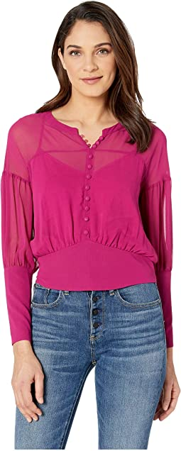 Drop Shoulder Puff Sleeve Top