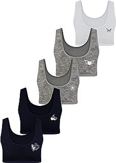 LOREZA ® 5 Sujetador Bustier para Niñas Ropa Interior Piedras Preciosas Camiseta de Tirantes - Algodón - 10 a 15 años