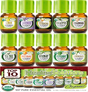 Top 10 USDA Certified Organic Essential Oils Set (10 Pack - 100% Pure & Natural) Therapeutic Grade - 5ml Set