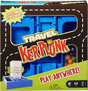 Mattel Games Travel Kerplunk, Portable Kids Game with Built-in Storage for 5 Year Olds and Up