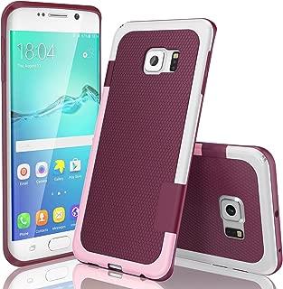 Galaxy S6 Edge Case, TILL(TM) Ultra Slim 3 Color Hybrid Impact Anti-Slip Shockproof Soft TPU Hard PC Bumper Extra Front Raised Lip Case Cover for Samsung Galaxy S6 Edge S VI Edge G925 [Wine]